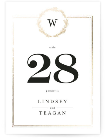 Little Wreath Foil-Pressed Table Numbers