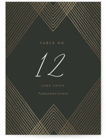 Diamond Criss Cross Foil-Pressed Table Numbers
