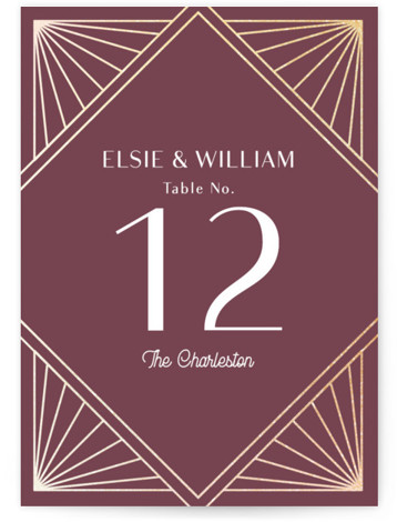 Radiant Frame Foil-Pressed Table Numbers