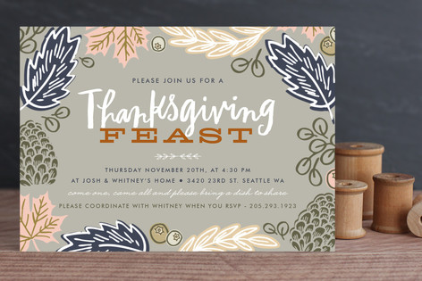 Thanksgiving Feast Leaves Thanksgiving Cards