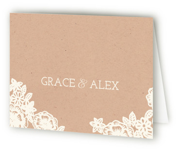 Lace and Kraft Thank You Cards