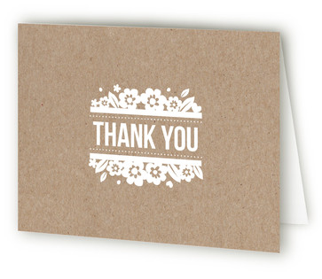 White Blossoms Paper Cut Out Thank You Cards