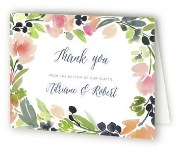 Watercolor Wreath Thank You Cards