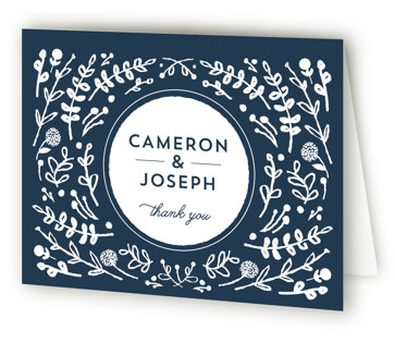 Floral Frame Square Thank You Cards