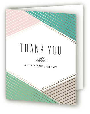 Overlap Foil-Pressed Thank You Cards
