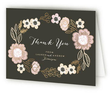 Botanical Wreath Foil-Pressed Thank You Cards