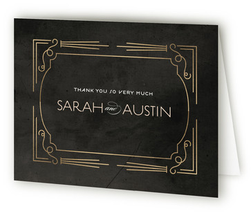 Foxtrot Frame Foil-Pressed Thank You Cards