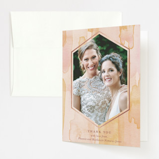 Sunset Watercolor Foil-Pressed Folded Thank You Card