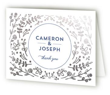 Floral Frame Foil-Pressed Thank You Cards
