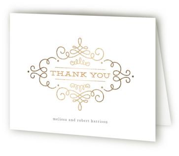 Ornate Monogram Foil-Pressed Thank You Cards