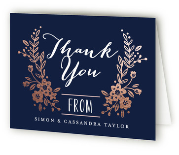 Wildflower Crest Foil-Pressed Thank You Cards