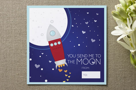 to the moon, alice Valentine's Day Cards
