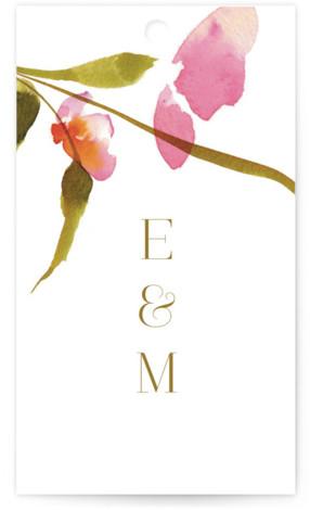 colorwash floral Wedding favor tags