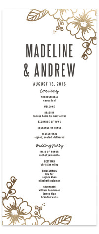 Modern Botanicals Foil-Pressed Wedding Programs