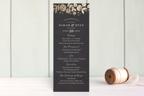 Sun Bleached Florals Foil-Pressed Wedding Programs