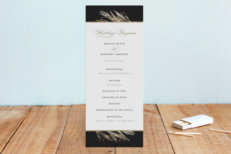 Winter Berry Foil-Pressed Wedding Programs
