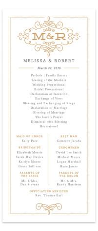Ornate Monogram Wedding Programs