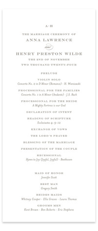 Field Wedding Programs