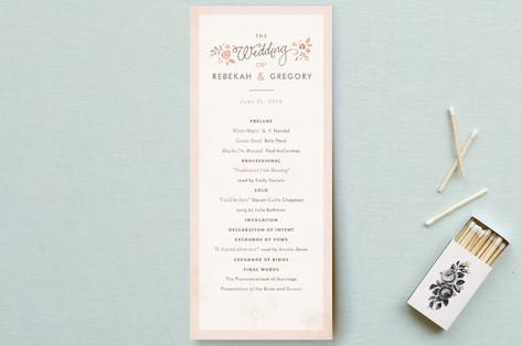 Pink Blossoms Unique Wedding Programs