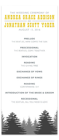 Enchanted Forest Wedding Programs