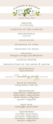 Botanical Wedding Programs