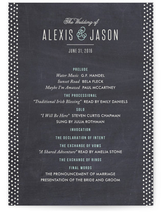 Alford Park Wedding Programs