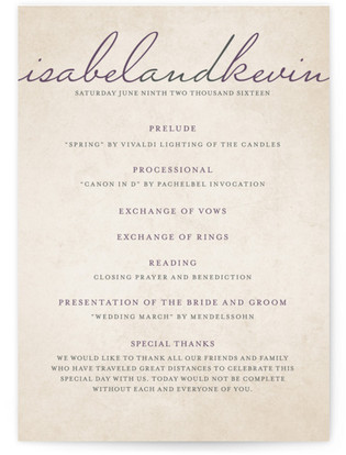 Light Hearted Wedding Programs