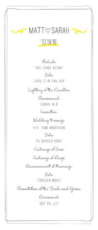 Bistro Wedding Programs