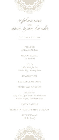 Grand Lace Wedding Programs
