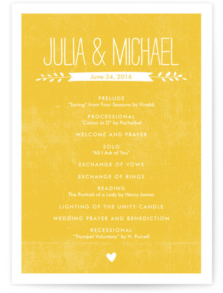 Quite Simply Wedding Programs