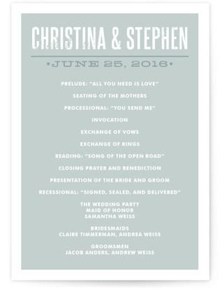Woodtype Poster Wedding Programs