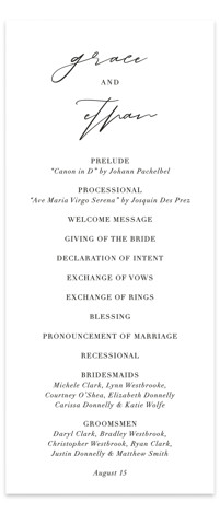 first dance Wedding Programs