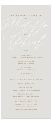 Cummings Wedding Programs