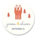 Two Grooms Destination Wedding Favor Stickers