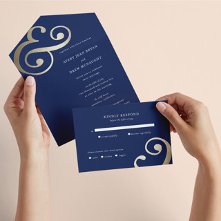 Classic Ampersand All-in-One Foil-Pressed Wedding Invitations