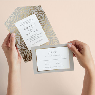Rose Box All-in-One Foil-Pressed Wedding Invitations
