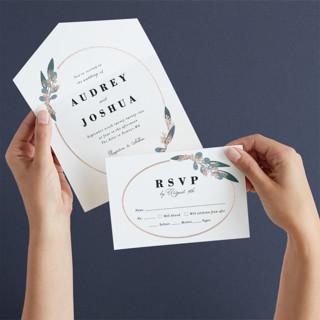Wedding Wreath All-in-One Foil-Pressed Wedding Invitations
