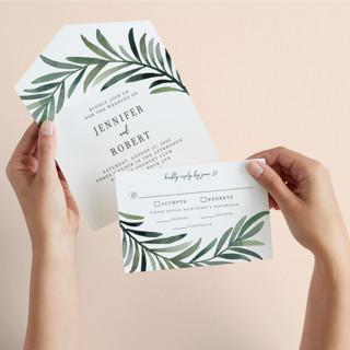 Green leaf frame All-in-One Wedding Invitations