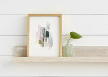 The Artful Shelf™ - Whitewashed Herringbone Art Shelves