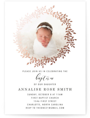Classic Laurel Wreath Foil-Pressed Baptism And Christening Invitations