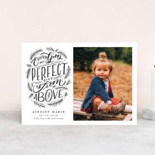 Every Good Perfect Gift From Above Holiday Birth Announcement Postcards