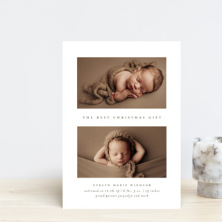 The Best Gift Holiday Birth Announcement Postcards
