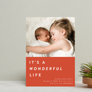 color block Christmas Holiday Birth Announcement Postcards