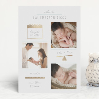 Checkers Foil-Pressed Birth Announcements