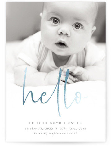 Hello Hello Foil-Pressed Birth Announcement Cards