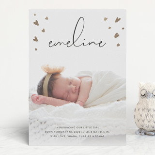 Tiny Hearts Foil-Pressed Birth Announcements