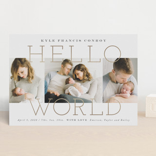Morning + Night Foil-Pressed Birth Announcements