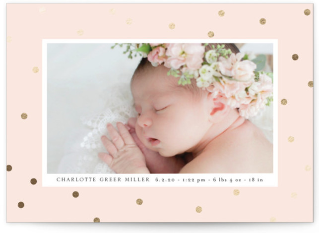 metallic dots Foil-Pressed Birth Announcement Cards