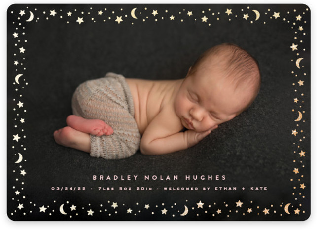 Starry Border Foil-Pressed Birth Announcement Cards
