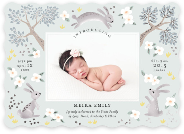 Woodlands bunnies Foil-Pressed Birth Announcement Cards